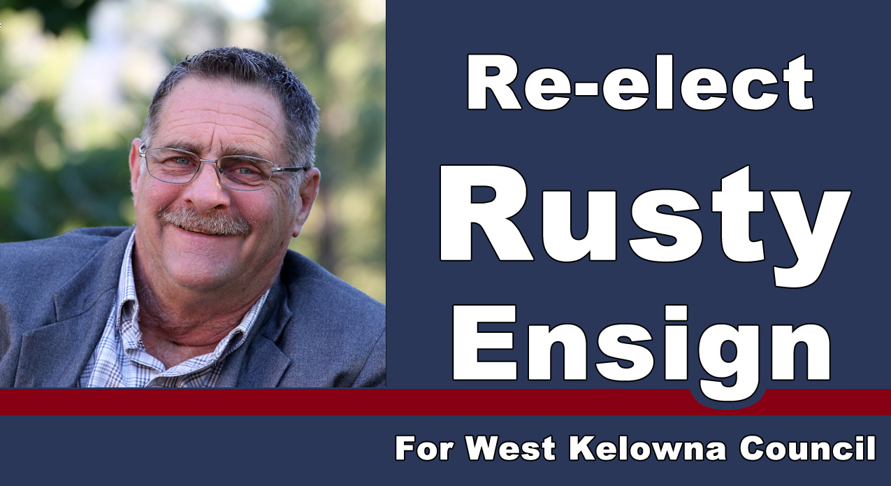"Rusty Ensign Logo ""To Serve Everyone in the City of West Kelowna"""
